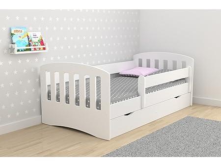 Childrens Beds Home Cama Individual Classic 1 - para niños Niños Toddler Junior SIN COLCHONES Y NO INCLUIDOS LOS CAJONES (Blanco, 180x80): Amazon.es: Hogar