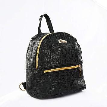 Homeofying Fashion Faux Leather Mini Backpack Girls Travel Handbag School  Rucksack Bag Black  Amazon.co.uk  Luggage b67953a52fb7f