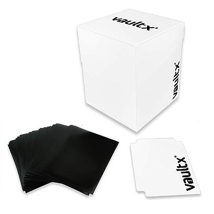 Vault X® Caja Grande de Cartas con 150 Fundas Negras - Tamaño Grande para 100+ Cartas en Fundas - Porta Tarjetas Libre de PVC para TCG (Blanco)