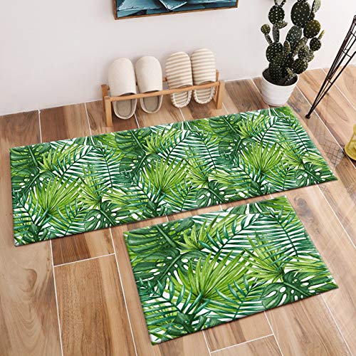 HVEST 2pcs Green Palm Leaves Area Rug Set Tropical Forest Carpet Non-Slip Runner Rug for Living Room Bedroom Kitchen Floor Mat,(1'4