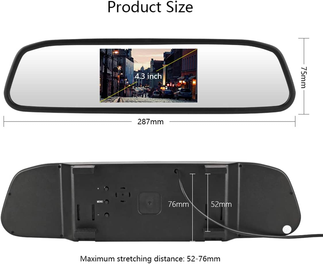 aSATAH Car 4.3 inch TFT in-Mirror Monitor and Rear View Camera for Nissan Tiida//Versa Hatchback//Grand Livina//Pulsar /& Vehicle Camera Waterproof and Shockproof Reversing Backup Camera 12 LED Camera