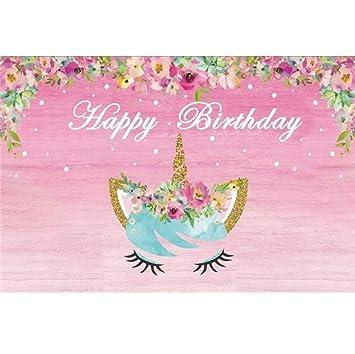 Cassisy 2,2x1,5m Vinilo Unicornio Telon de Fondo Feliz cumpleaños Bandera Pastel Flores decoración Fondo de Pantalla de Color Rosa Fondos para ...