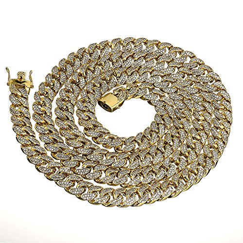 Iced out 14k Yellow Gold Finsh 15mm Miami Cuban Link Hip Hop Chain Necklace (30) by modern