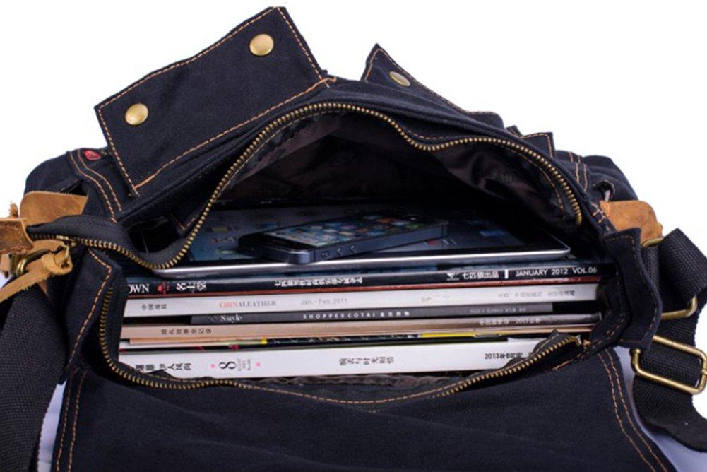 Black Genda 2Archer Multifunctional Canvas Messenger Leisure Bag for Men and Women