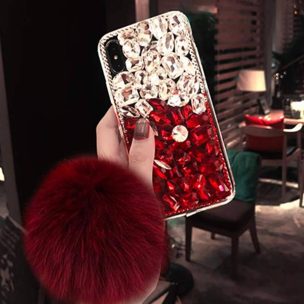 Case for Samsung Note 10 Plus,Aulzaju Note 10 Plus Bling Case Handmade Crystal Rhinestone Case with Soft Furry Ball for Galaxy Note 10 Plus,Shockproof TPU Hybrid Case for Girls Women-Silver Red by Aulzaju
