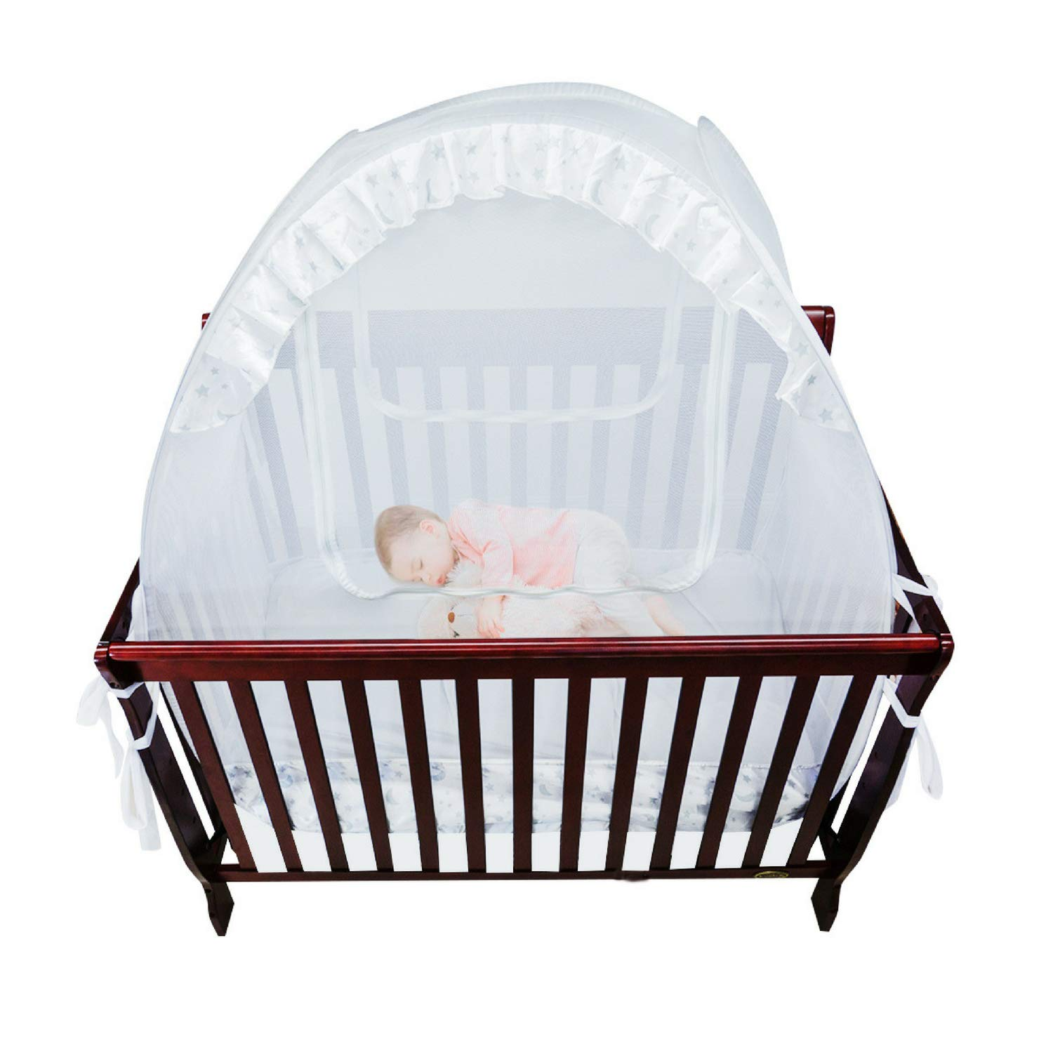 Houseables Baby Crib Safety Net, Mosquito Bed Netting Tent for Babies, White, 48'' X 26'' X 57'', Mesh, Toddler Pack N Play Canopy, Pop up Protection for Infants, Sleeping Beds, Insect Bumper Cover