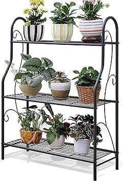 Soporte de plantas Escalera de flores de 3 plantas Soporte de flores de hierro forjado de 3 plantas Montaje simple Adecuado para balcón de sala de estar al aire libre - CFJJOAT: