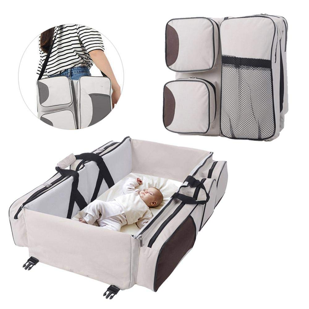 Bag Travel Bassinet For Baby Mommy Bag Crib 75x40x20cm,Grey FOONEE Baby Travel Bed 3 In 1 Diaper Bag Travel Bassinet Change Station