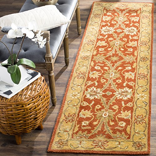 (Safavieh Antiquities Collection AT249C Handmade Traditional Oriental Rust and Gold Wool Runner (2'3
