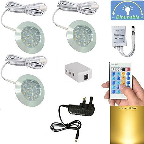 Dokoeo, 3 de color blanco cálido DC12 V carcasa de plata incrustadas regulable LED luces