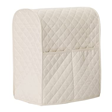 LIAMTU Stand Mixer Cover Large Size Dust-proof Satin Sheen Fabric Fits All Tilt Head & Bowl Lift Models for KitchenAid, Sunbeam, Cuisinart, Hamilton Beach Mixers (Almond Cream)