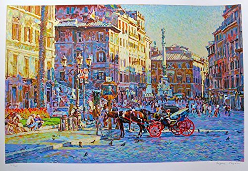 Artwork by Eugene Kaspin Piazza In Sunny Rome Hand Signed Limited Edition Serigraph Print. After the Original Painting or Drawing. Paper 29.5 Inches X 41 - Print Signed Sunnies