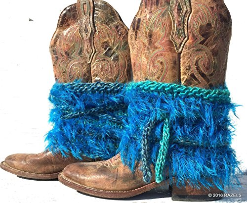 - WESTERN TURQUOISE, Boot Covers, Fur Boot Cuffs, Furry Boots, Furry Booties, Turquoise Fringe