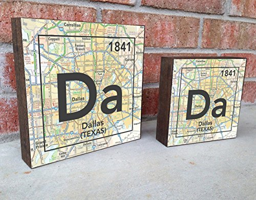 Dallas Texas Da City Vintage Periodic Chart Map Art Print on Wooden Block, Home & Wall Decor, Wedding-Housewarming - Birthday - Valentines Day - Christmas gift for her
