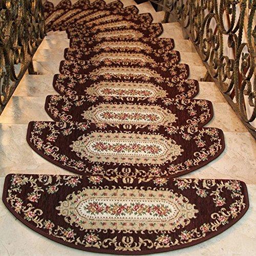 24cmx 64cm Dark Coffee Flower Treads Sector European Style Pastoral Carpet Stair Tread Anti-skid Step Rugs Stair Mats 1 - Pathfinder Sunglasses