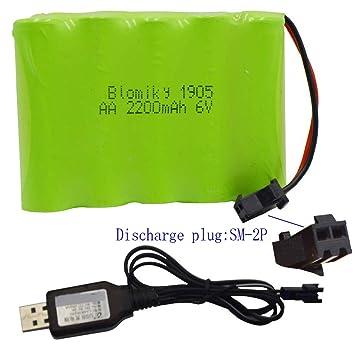 Amazon.com: Blomiky 6V 2200mAh Ni-MH AA Batería recargable ...