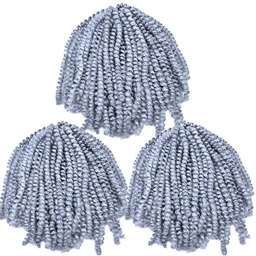 MYCHANSON spring twist hair for braids black 3 pack/lot Jamaican Bounce Crochet Hair Extensions spring twist crochet hair 8Inch 110g/Pack (GREY)