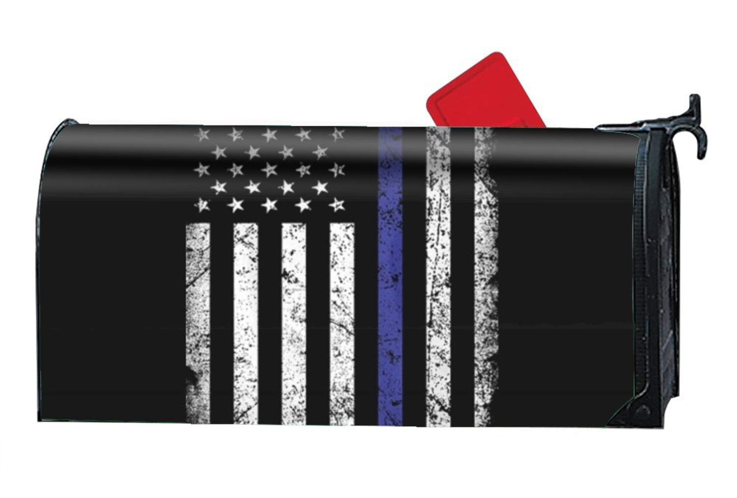 WilBstrn Thin Blue Line Flag Printed Mailbox Covers Magnetic Mailbox Makeover
