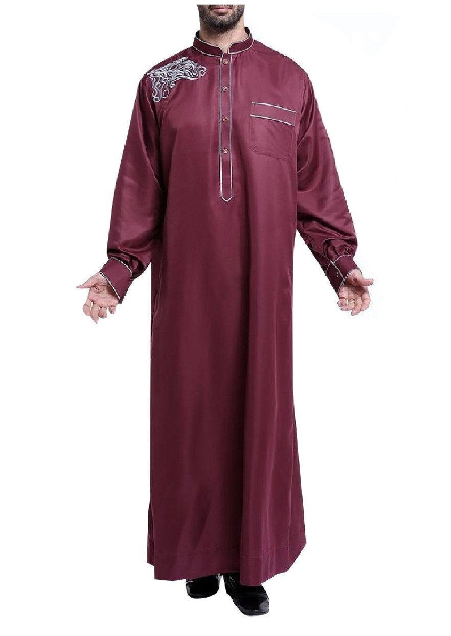 Abetteric Mens Oversized Back Cotton Embroidery Long Sleeve Muslim Thobe Wine Red S