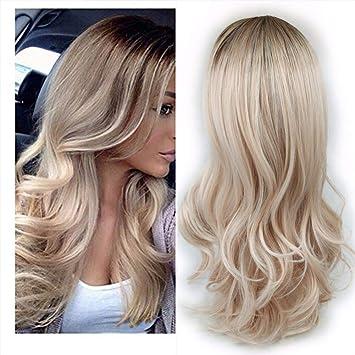 Beauty Wig Hitzeresistente Synthetik Perücke Ombre Farbe Lang