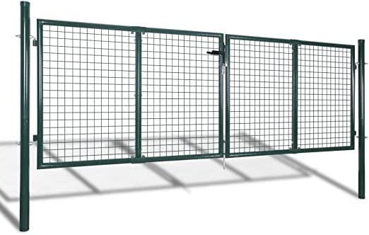 Tidyard Acero Verja Mallada Puerta Barrera Exterior Cercas para Jardín Puerta de Valla de Acero Verde 306x150 cm: Amazon.es: Jardín