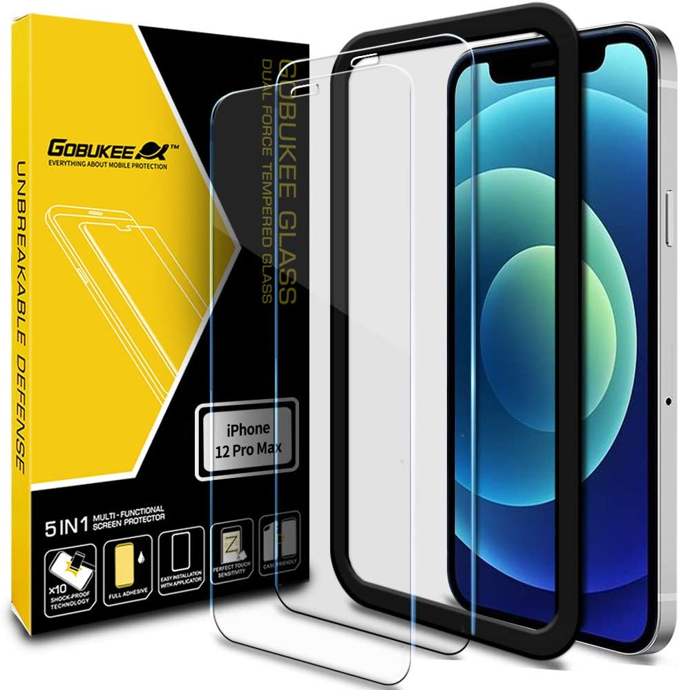 [2PACK] GOBUKEE Screen Protector for iPhone 12 Pro max (6.7 Inch) [Ultra Clear Tempered Glass] 9H Hardness Anti-Shock Compatible with iPhone12Promax (A)