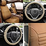 FH GROUP FH-PU206102 Multifunctional Quilted Leather Seat Cushions Pair Set + FH3003 Silicone Steering Wheel Cover w. Grip Marks , Tan Color- Fit Most Car, Truck, Suv, or Van