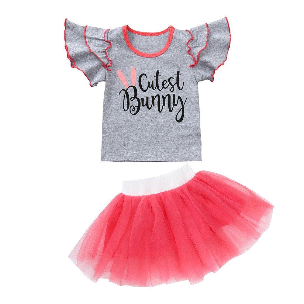 Toddler Girls Cotton Letter Print Flare Short Sleeve T Shirt Tops Lace Tulle Tutu Princess Skirt Set (Gray, 4T)