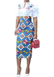 25ff6b6a4 CNJFJ Womens African Print Plaid Midi Skirt Bodycon High Waist Floral Knee  Length Pencil Dress
