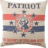 Primitives by Kathy Vintage Feed Sack Style Patriot Farm Seeds Throw Pillow, 16-Inch Square