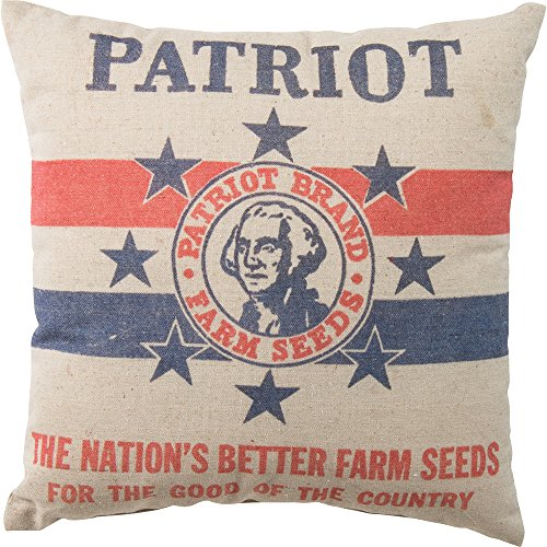 Primitives by Kathy Vintage Feed Sack Style Patriot Farm Seeds Throw Pillow, 16-Inch (Vintage Feed)