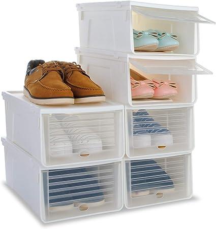 Caja de zapatos, organizador de zapatos que se puede apilar, para mujer y hombre, cubierta deslizante