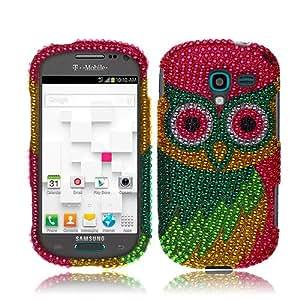 Samsung Galaxy Exhibit T599 Green Colorful Owl Full Diamond
