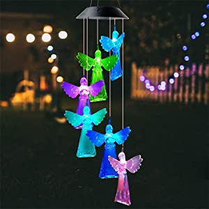 SNOMYRS Solar Angel Wind Chime Outdoor Wind Chimes Lights Solar Simulation Angel Light for Garden Yard Decor Gifts for Mom Birthday