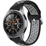 TERSELY Sport Repalcement Band Strap for Samsung Gear S3 / Galaxy Watch 46mm / Watch 3 45mm, 22mm Soft Silicone Bands Fitness Sports for Galaxy S3 Frontier/Classic/Galaxy Watch 3 - Black+Grey