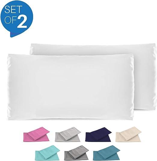 Dreamzie - Set de 2 x Funda de Almohada 50x70 cm, Blanco Alabastro ...
