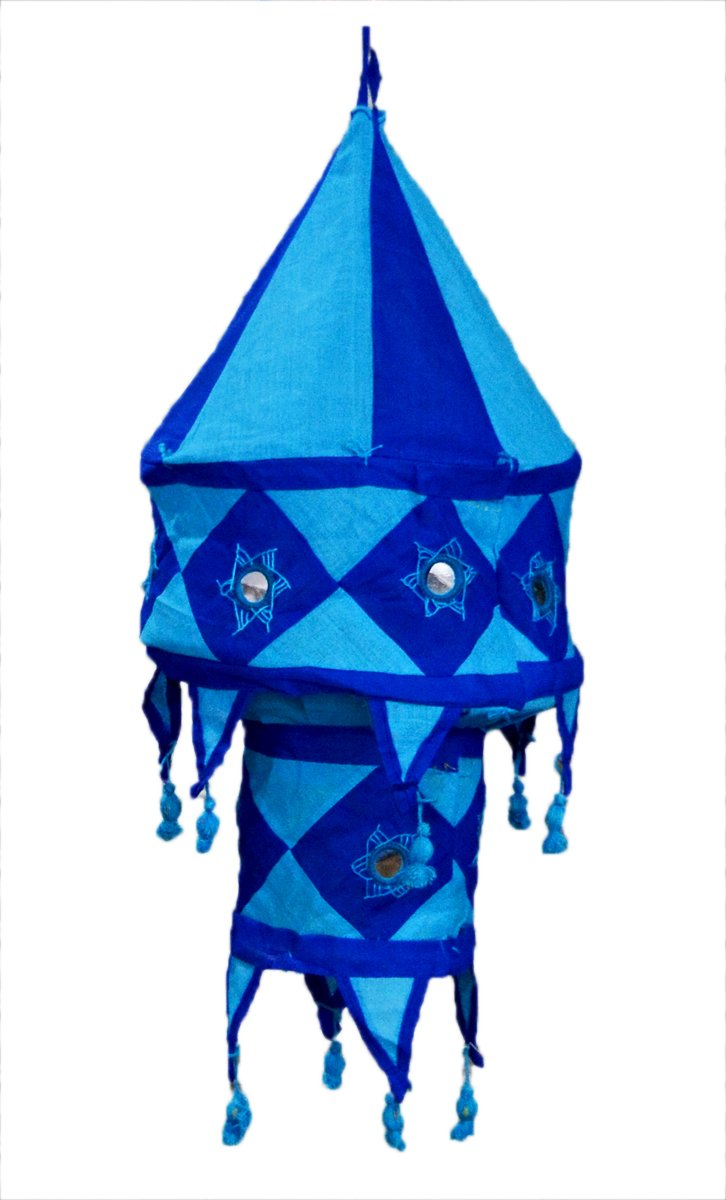 Indian Traditional Hanging Lampshade Embroidered Mirror Work Home Decorative 2 Step Lampshade