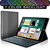 iPad Keyboard Case for New 2018 iPad, 2017 iPad, iPad Pro 9.7, iPad Air 1 and 2 – Bluetooth Backlit Detachable Quiet Keyboard – Slim Leather Folio Cover – 7 Color Backlight – Apple Tablet (9.7 Black)