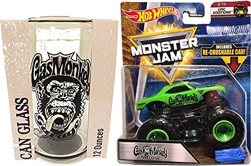 Gas Monkey Gift Pack Monster Truck & Can Glass Set Hot Wheels Monster Jam 2018 Epic Addition & 12 oz Garage Glass Blood / Beers / Sweat Fast & - 2017 Style Current Glasses