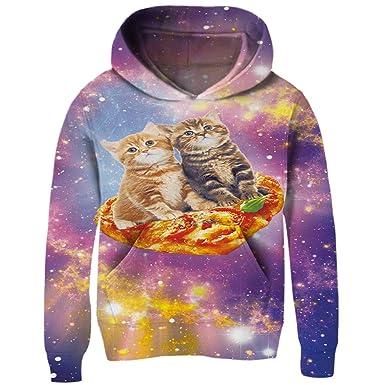 25fb01e652ff Funnycokid Unisex Hoodie 3D Print Pizza Cat Long Sleeve Fleece Sweatshirt  Girls Boys Pullover Hooded Jumpers