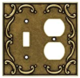 Brainerd 126386 French Lace Single Toggle Switch/Duplex Outlet Wall Plate / Switch Plate / Cover, Burnished Antique Brass