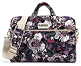DACHEE White Rose Pattern 15 inch Waterproof Laptop Shoulder Messenger Bag for 14 Inch to15.6 inch Laptop and MacBook Pro 15 Laptop Case