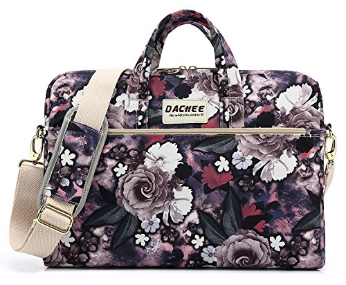 DACHEE White Rose Pattern 15 inch Waterproof Laptop Shoulder Messenger Bag for 14 Inch to15.6 inch Laptop and MacBook Pro 15 Laptop Case by DACHEE