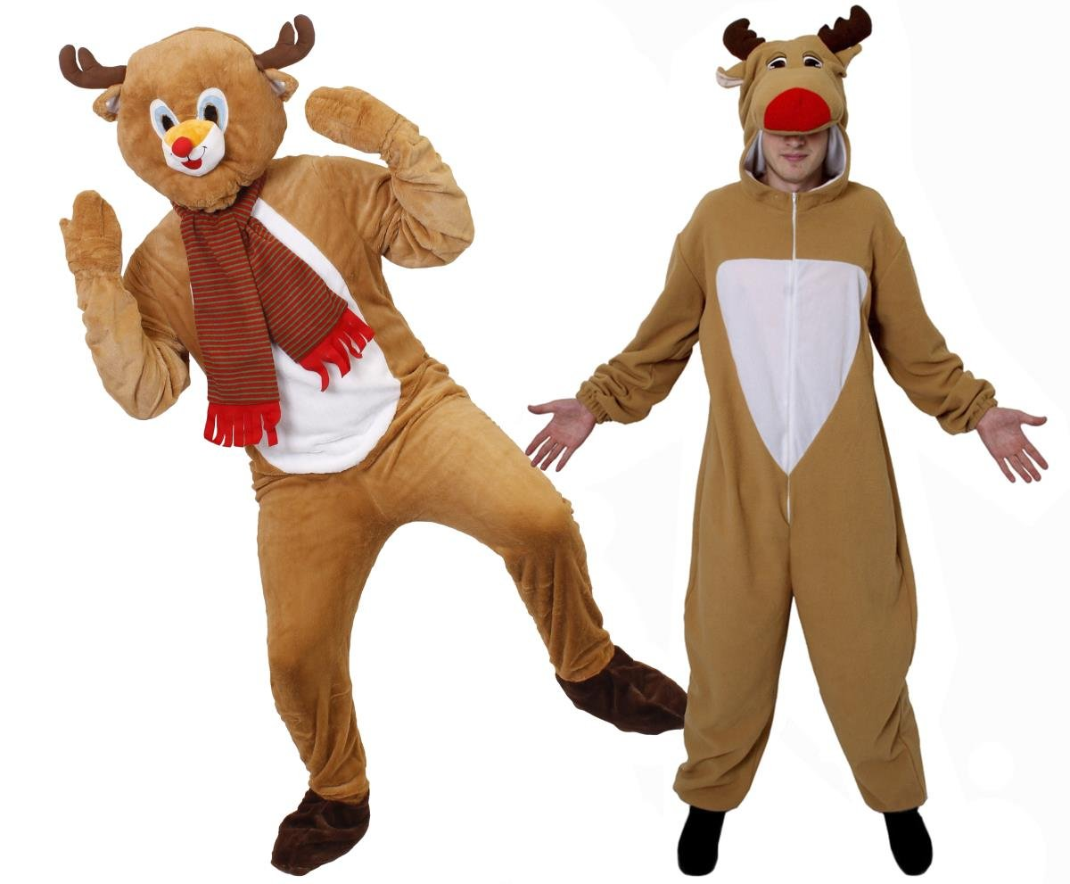 Reindeer Costume Adult Red Nosed Rudolf Christmas Outfit Fancy Dress