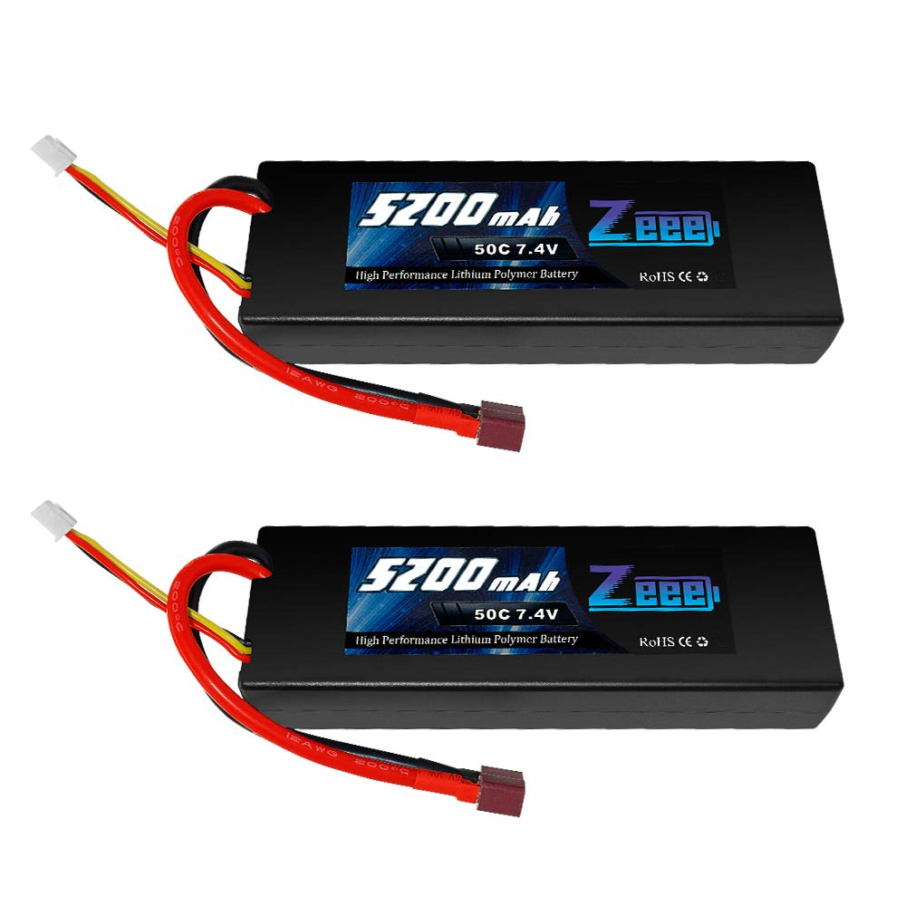 Zeee 2s Lipo Battery 7.4V 50C 5200mAh RC Lipo Batteries Hard Case with Deans Plug for 1/8 1/10 RC Vehicles Car,Trucks,Airplane,Boats(2Pack)