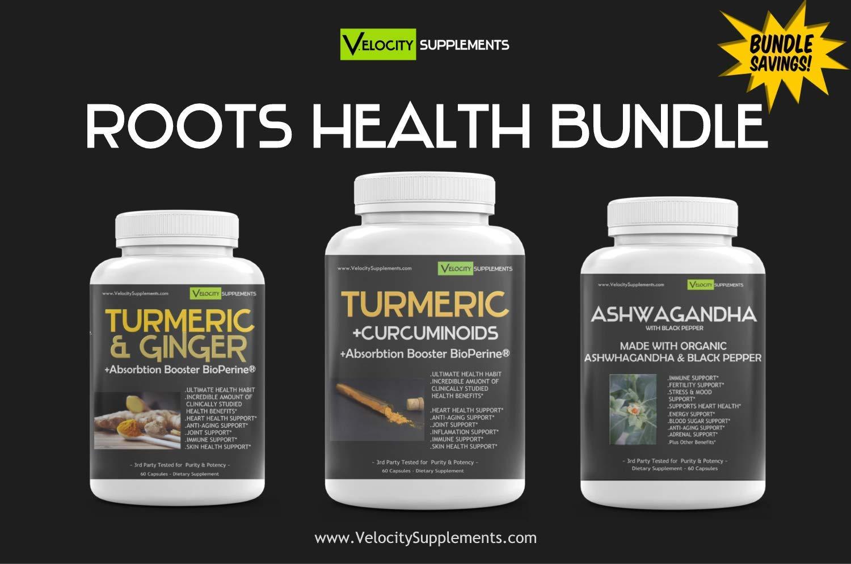 Roots Health Bundle Kit Special - Turmeric & Ginger Formula, Turmeric with Bioperine, Ashwagandha