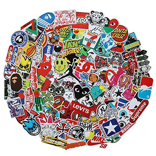 Fashion Big Brands Logo Laptop Stickers Waterproof Skateboard Car Snowboard Bicycle Luggage Decal 100pcs (Big Brands Logo)