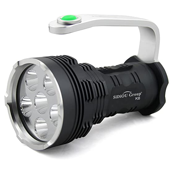 Sidiou group searchlight high power super bright 8000 lumens 6x xm l t6 led flashlight searchlight flashlight only amazon co uk garden outdoors