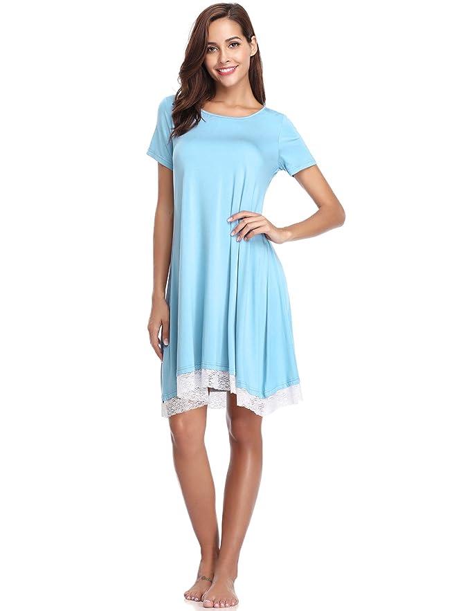 iClosam Camisón Mujer Verano Corta, Pijama Algodón Ropa de Dormir Suave y Comodo para Mujer