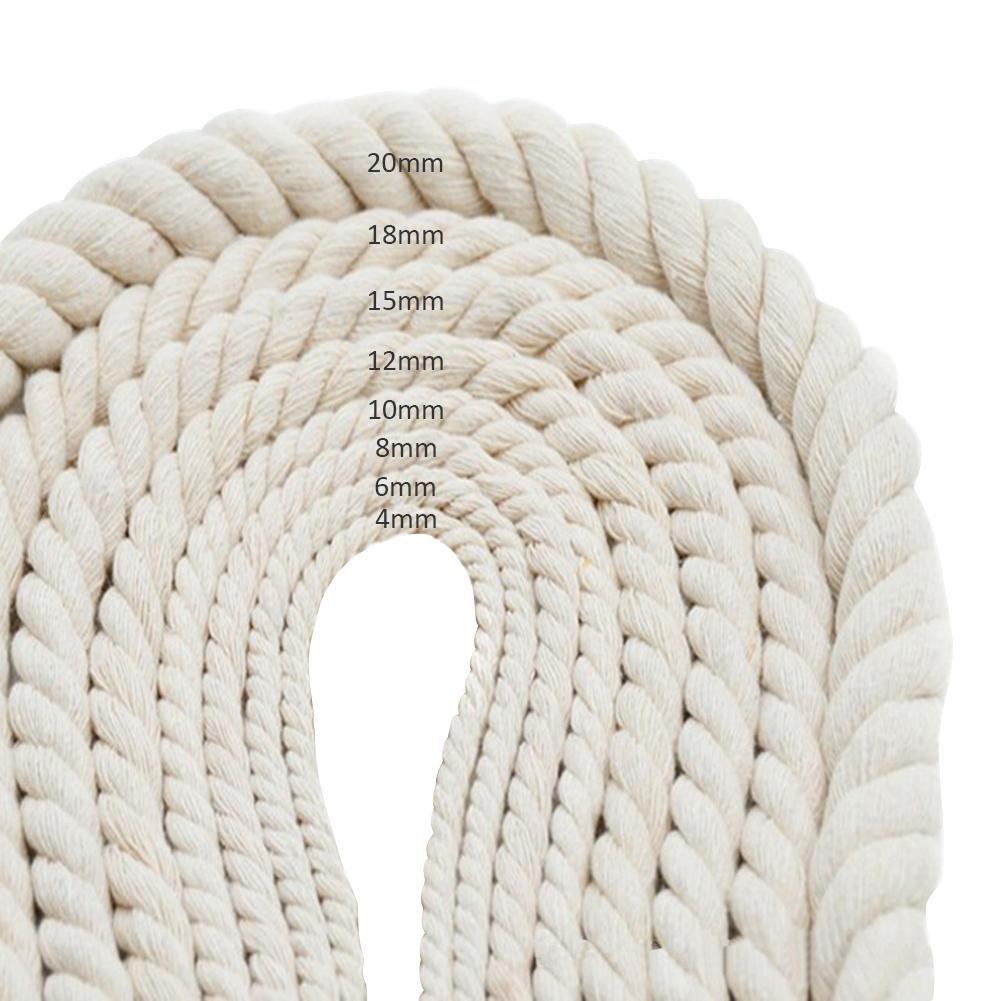 Corde de Bricolage Manuel Corde de Coton Blanc tress/é Corde d/écorative Sacs Faisceaux de Rideaux de Corde attach/ée